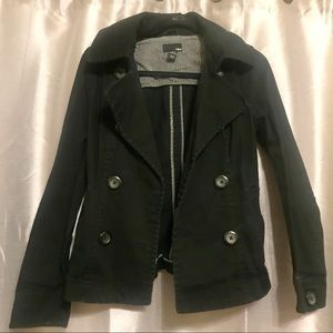 H&M Double Breasted Black Pea coat Jacket Size 6